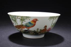 A Chinese White Porcelain Portrait of birds Bowl