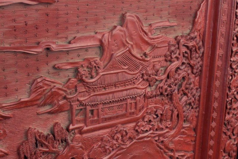 An Estate Chinese Lacquer Table Screen - 2