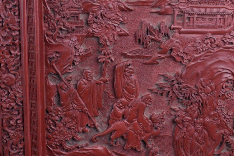 An Estate Chinese Lacquer Table Screen - 3