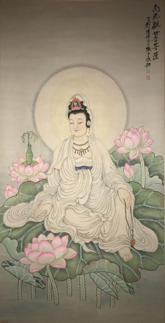 A Chinese Guanyin Estate Painting Scroll
