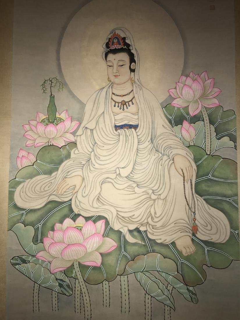 A Chinese Guanyin Estate Painting Scroll - 3