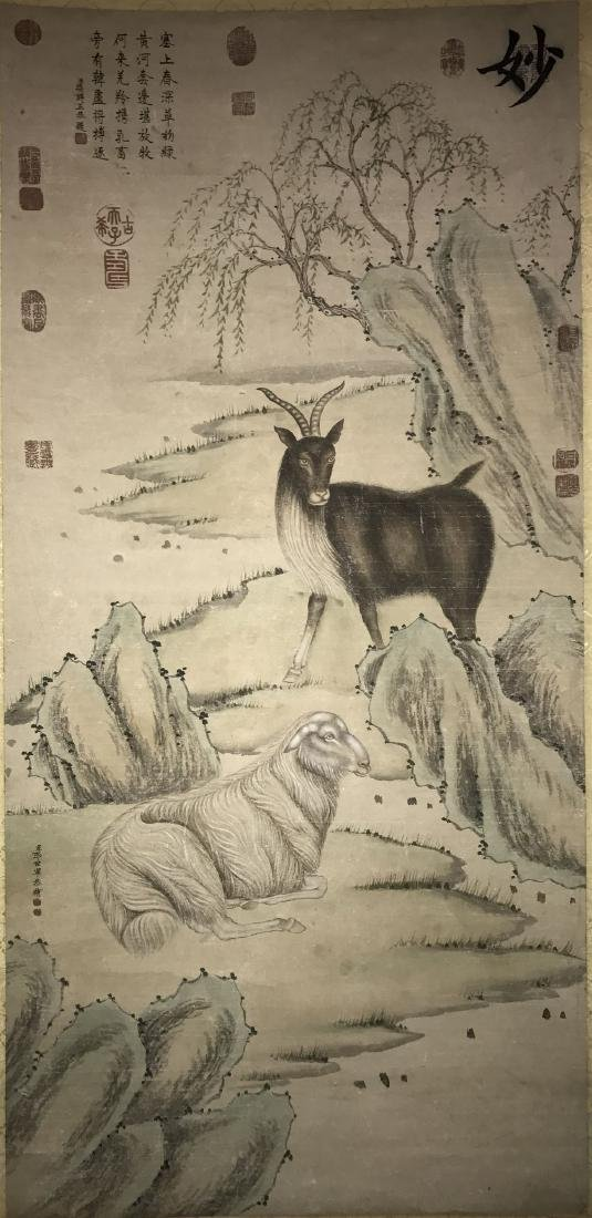An Estate Chinese Goat-portrait Painting Scroll