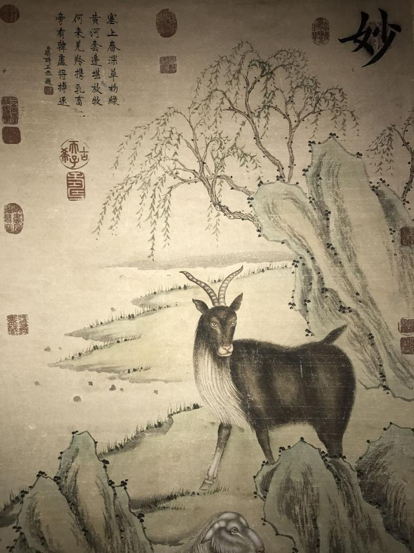 An Estate Chinese Goat-portrait Painting Scroll - 2