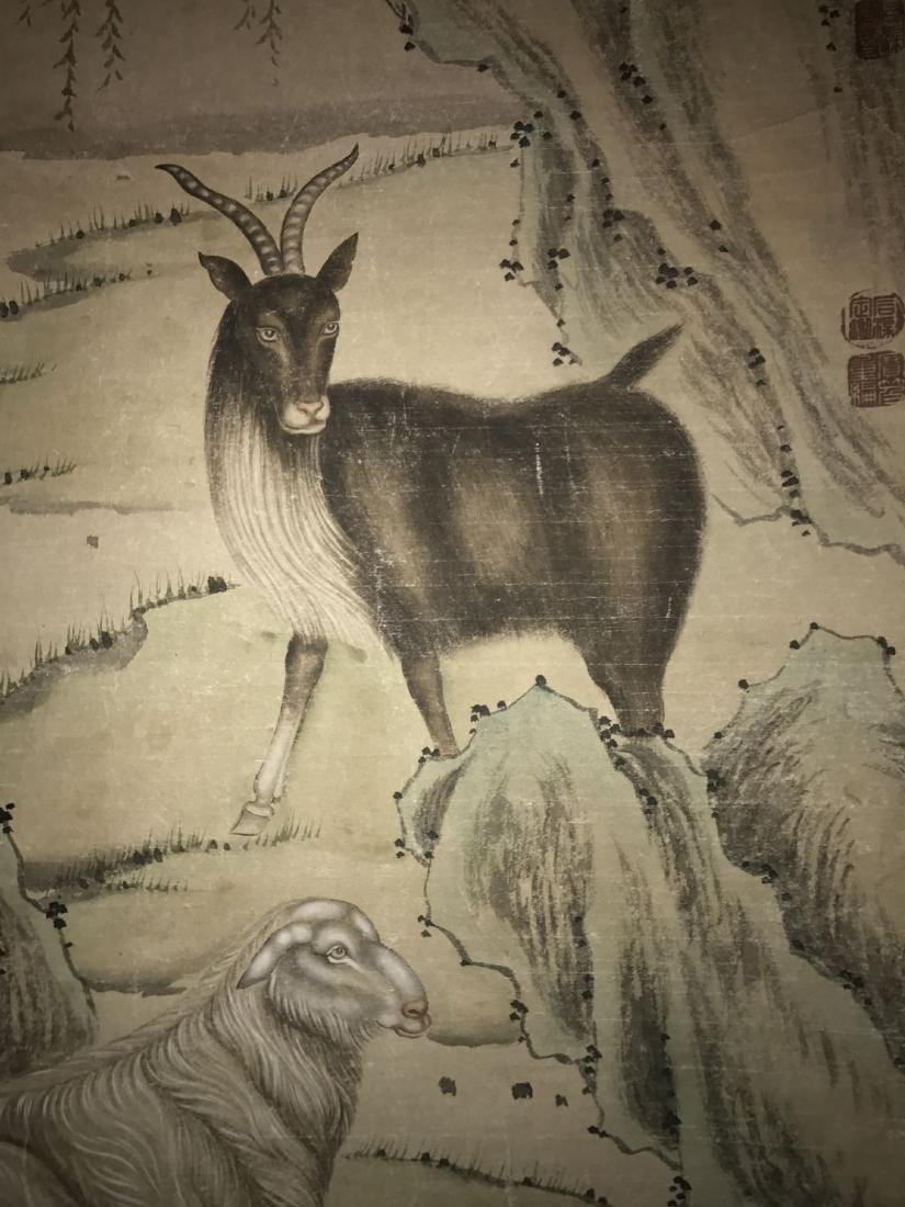 An Estate Chinese Goat-portrait Painting Scroll - 3