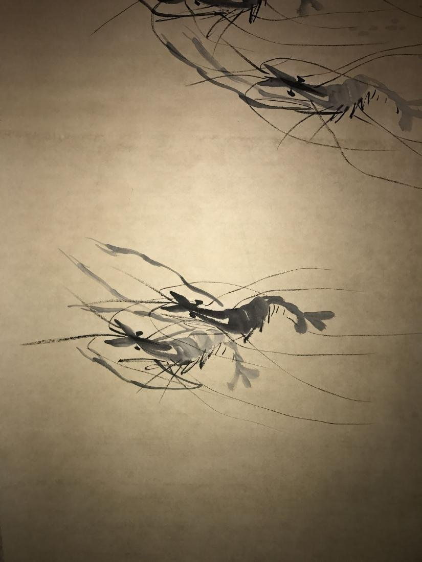 A Chinese Estate Abstract-shrimps Painting Scroll - 3