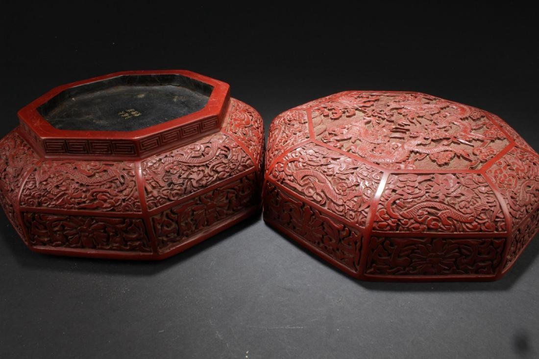 An Octa-shape Chinese Lacquer Box - 7