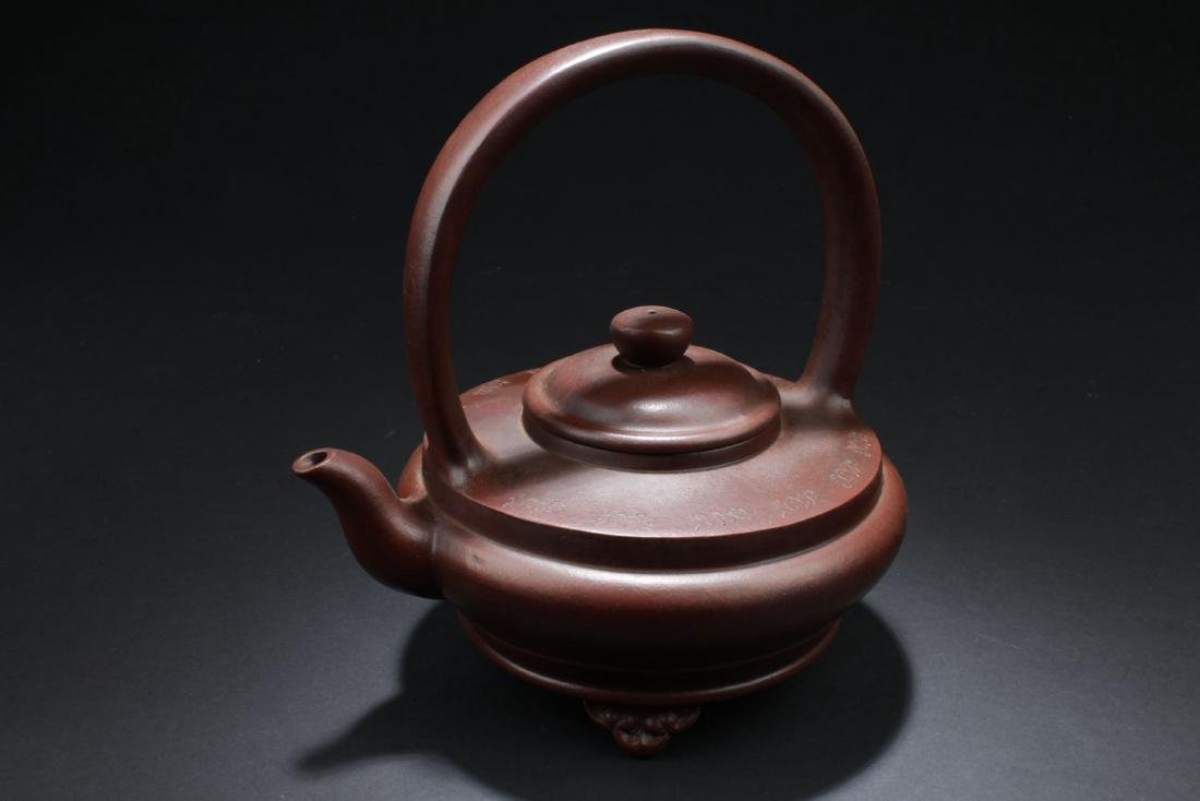 A Handled Round Chinese Tea Pot - 3