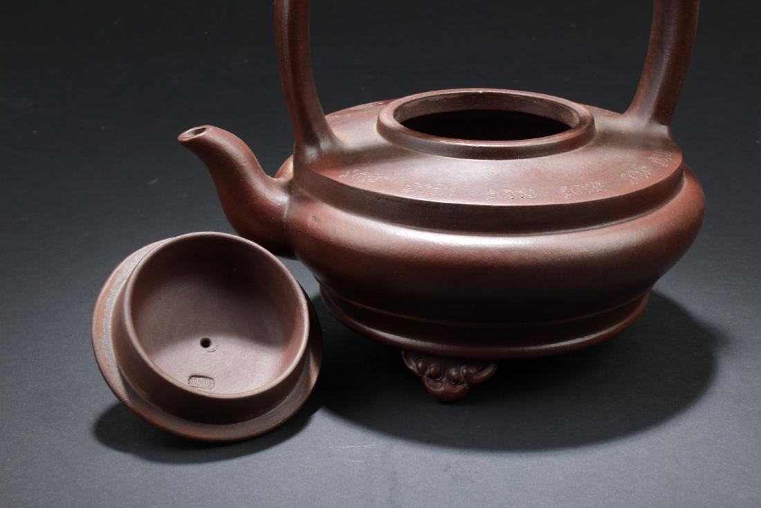A Handled Round Chinese Tea Pot - 6