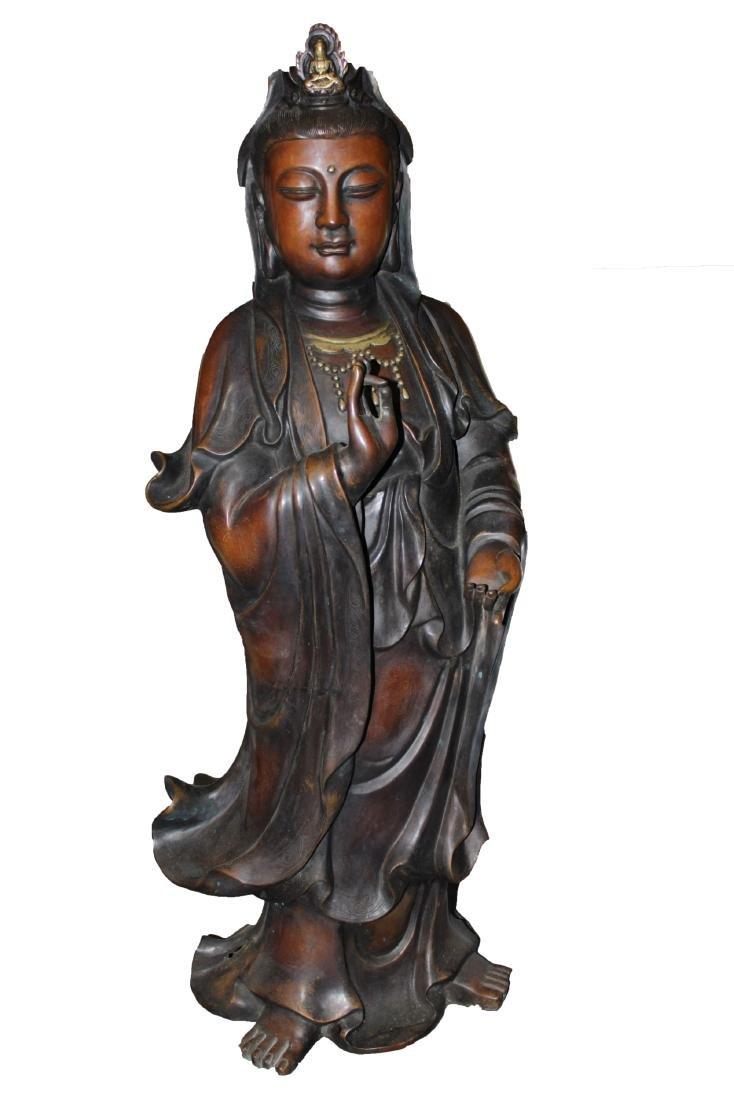 An Estate Chinese Copper-craft Guanyin Statue