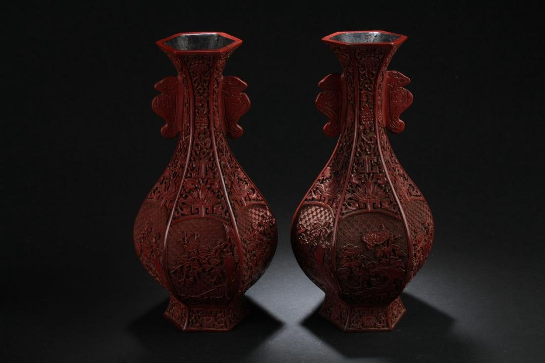 A Pair of Windowed Chinese Lacquer Vases