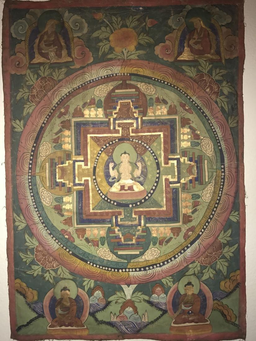 An Estate Tibetan Thangka Display