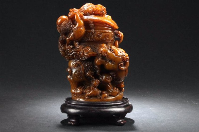 An Estate Chinese Myth-beast Battling Soapstone Curving