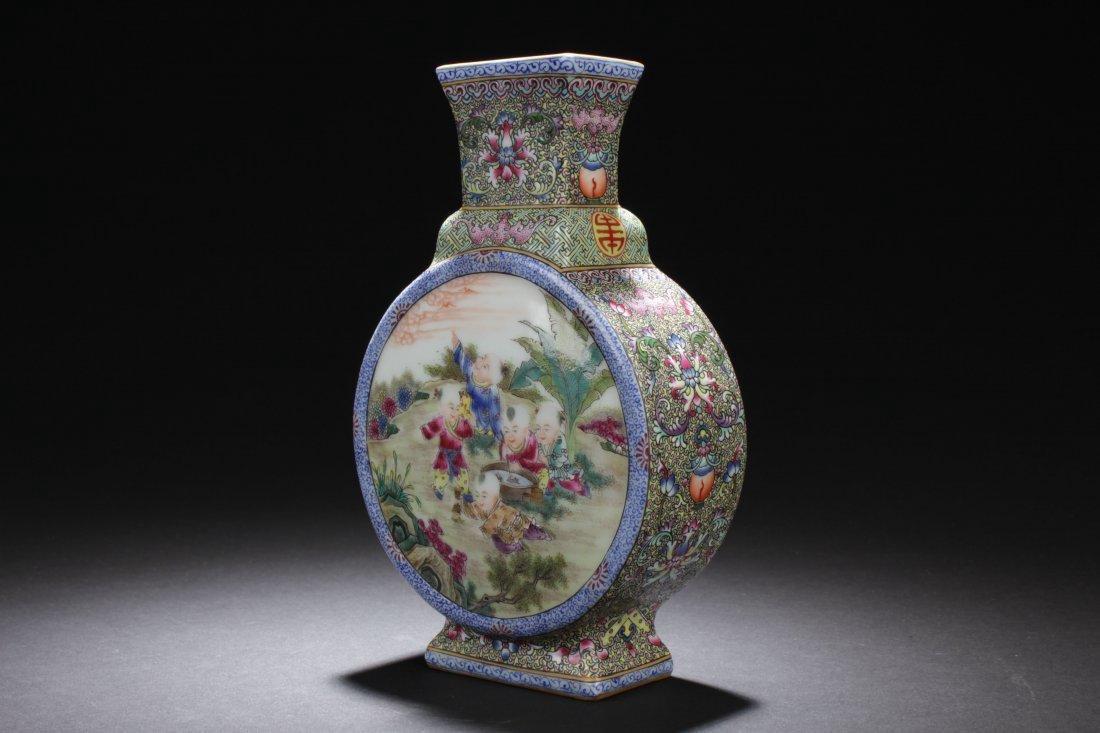 A Chinese Detailed Joyful Kids Porcelain Vase