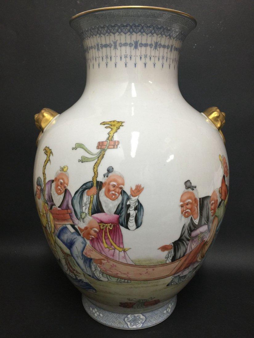 An Estate Detailed Elders-hangouts Painting Vase