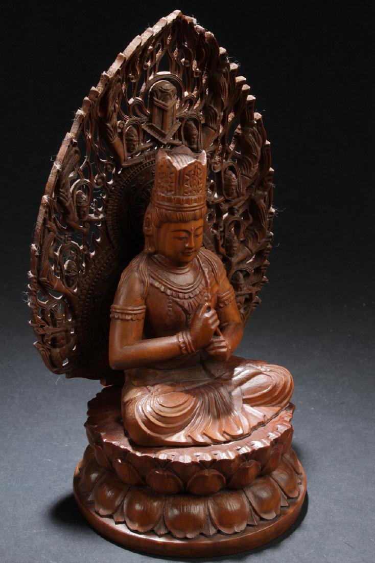 An Aura-seated Chinese Wooden Buddha Statue - 2