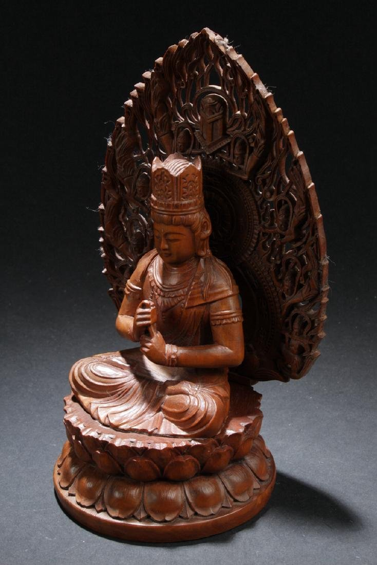 An Aura-seated Chinese Wooden Buddha Statue - 3