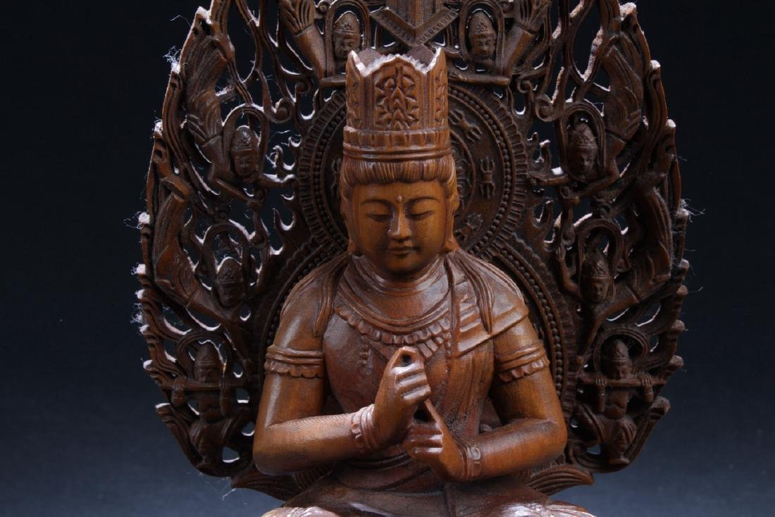 An Aura-seated Chinese Wooden Buddha Statue - 4
