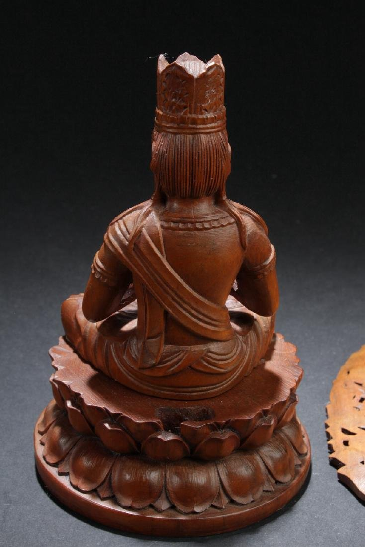 An Aura-seated Chinese Wooden Buddha Statue - 6