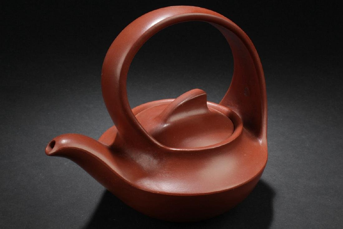 A Handled Boat-style Chinese Estate Tea Pot