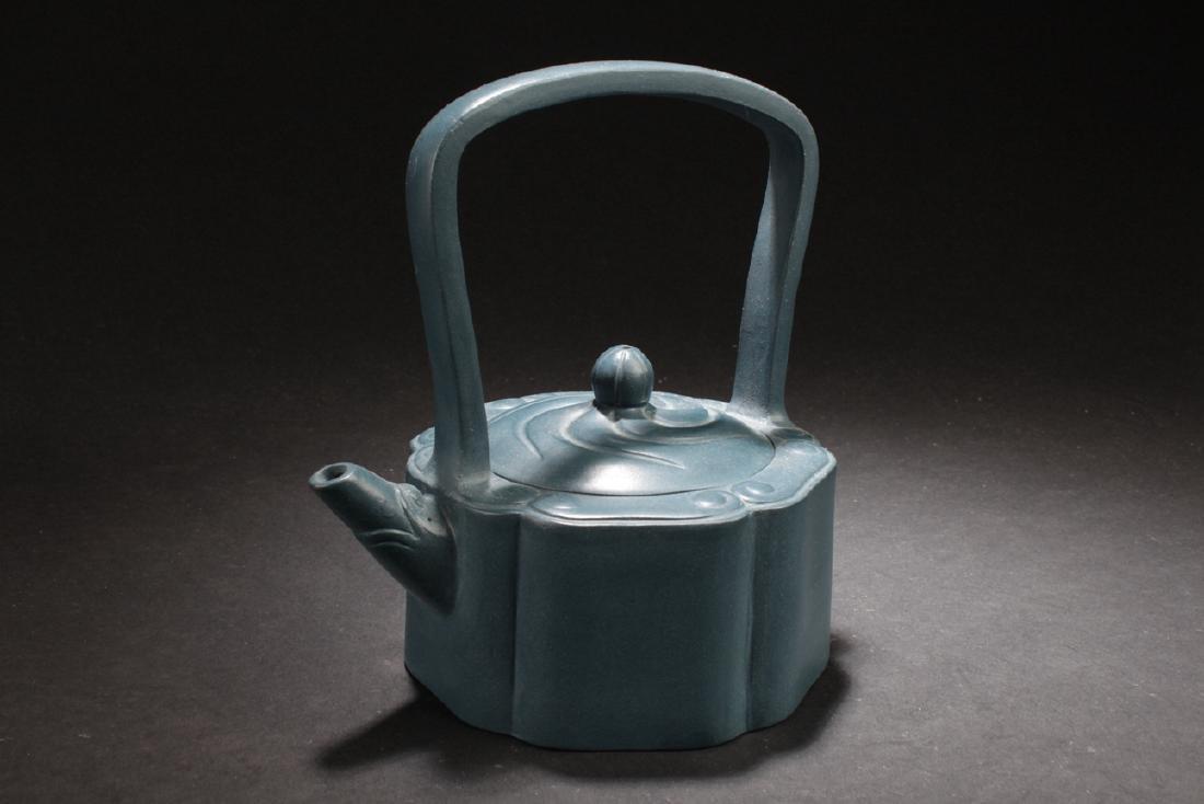 An Estate Chinese Blue Handled Tea Pot
