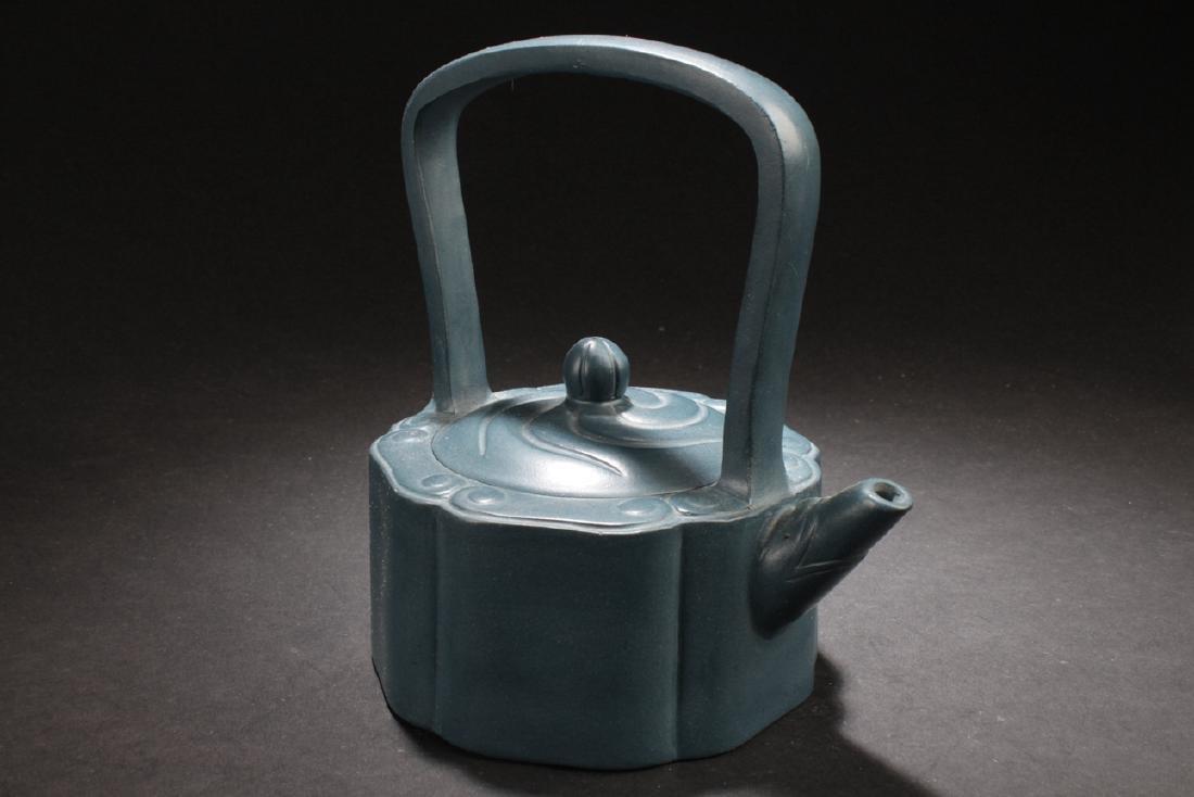 An Estate Chinese Blue Handled Tea Pot - 2