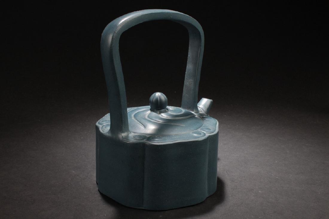 An Estate Chinese Blue Handled Tea Pot - 3