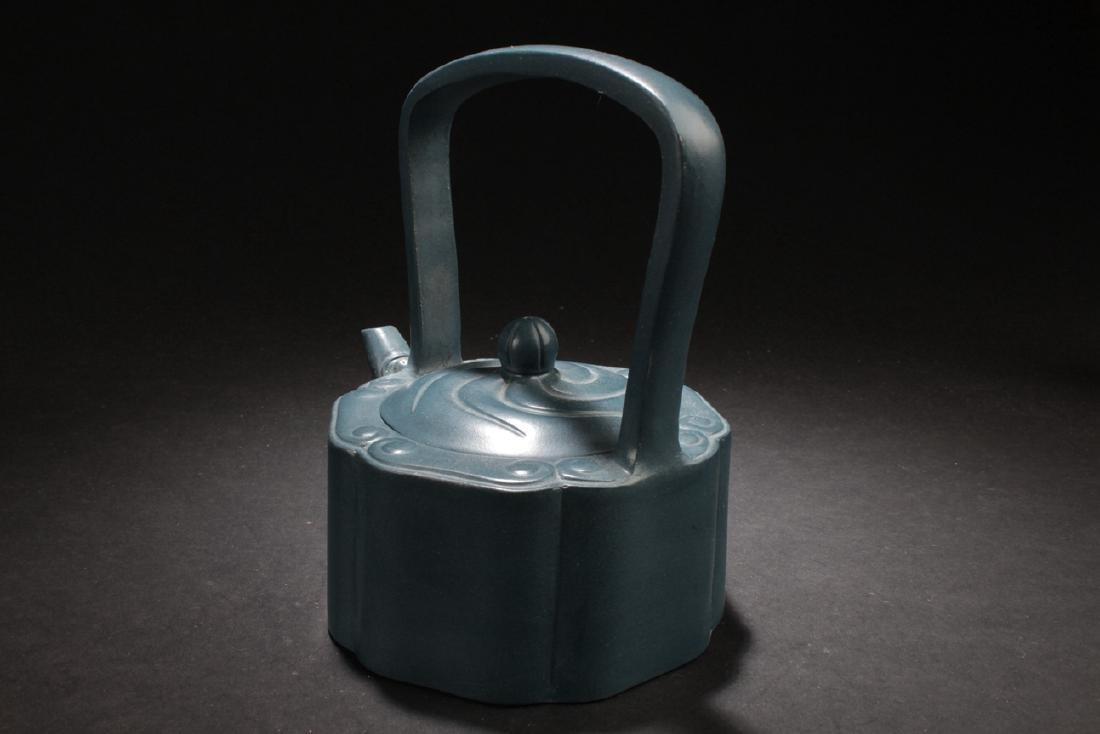 An Estate Chinese Blue Handled Tea Pot - 4