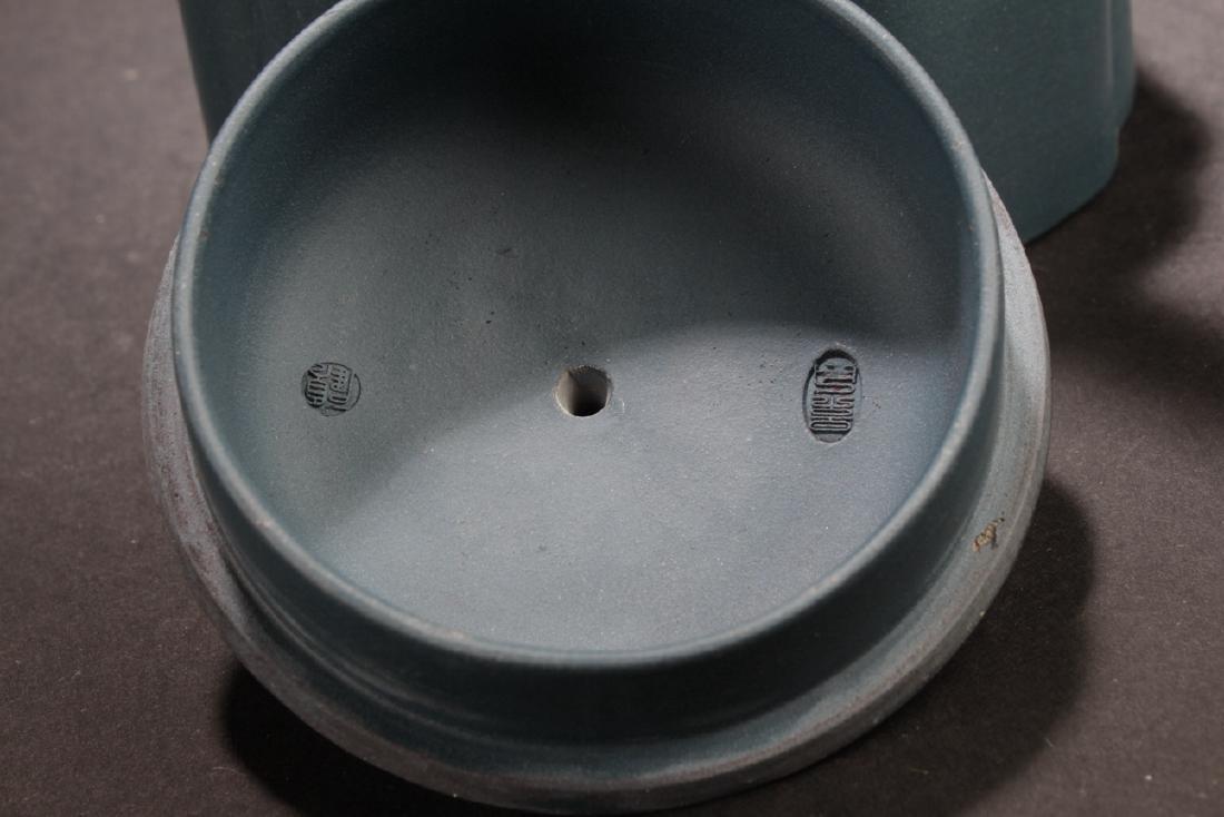 An Estate Chinese Blue Handled Tea Pot - 5