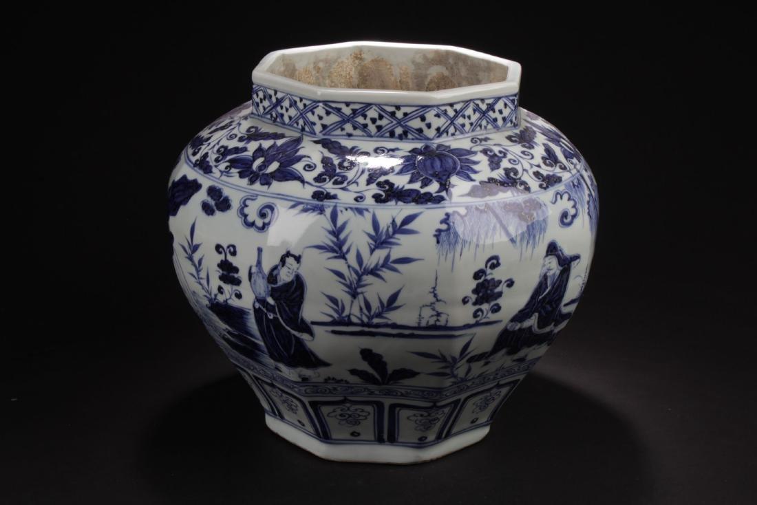 A Hexa-shape Chinese Blue and White Porcelain Vase