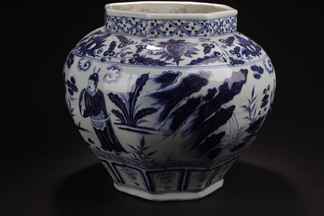 A Hexa-shape Chinese Blue and White Porcelain Vase - 2
