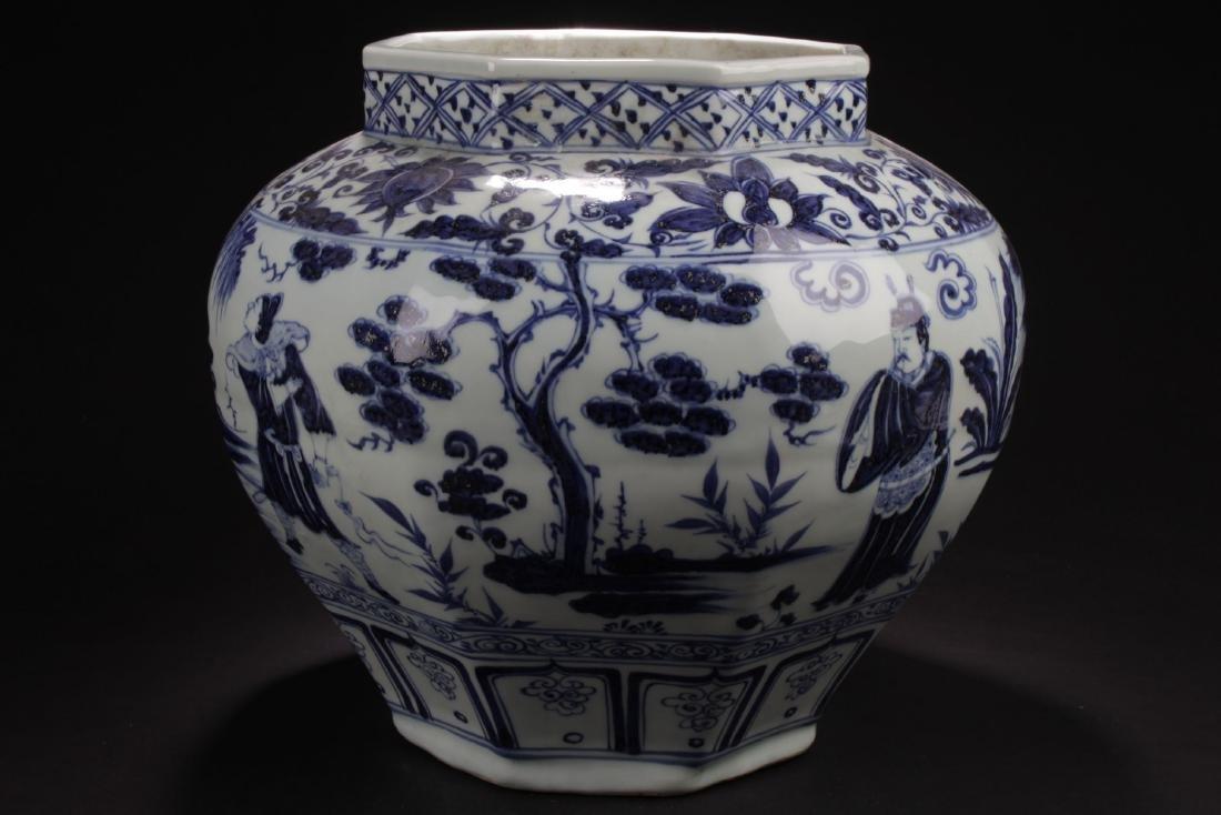 A Hexa-shape Chinese Blue and White Porcelain Vase - 3