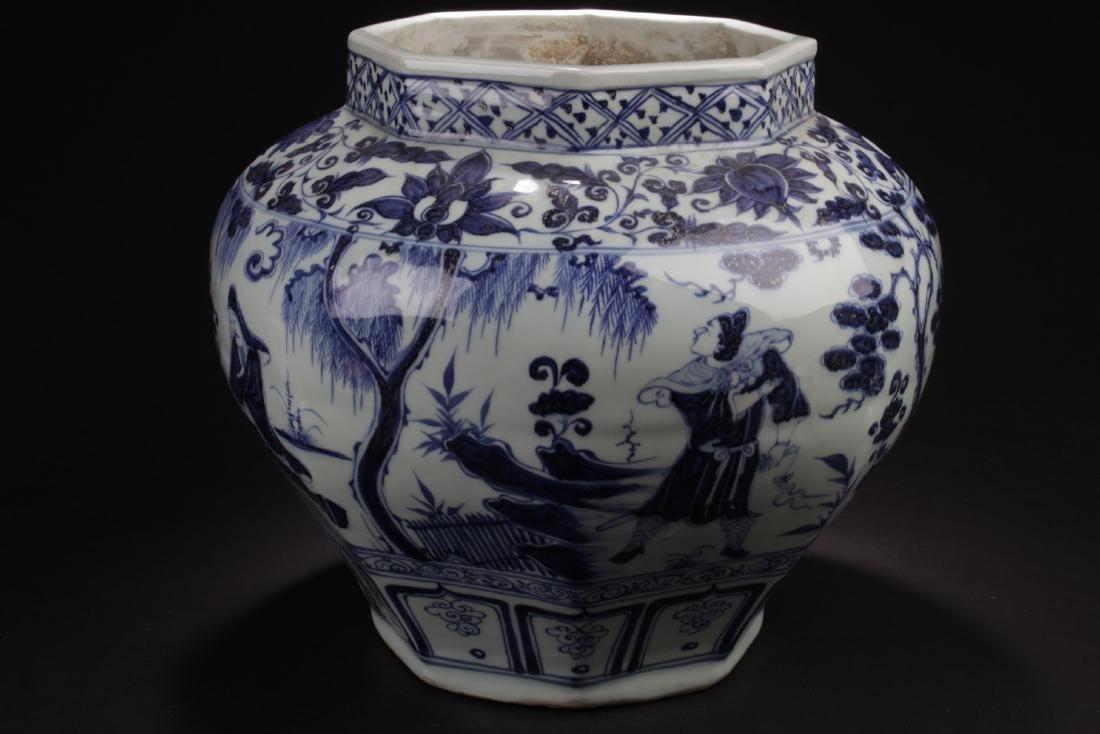 A Hexa-shape Chinese Blue and White Porcelain Vase - 4