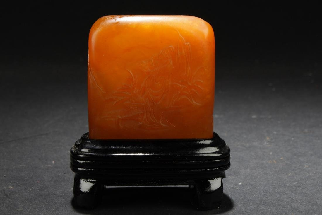 An Estate Chinese Soapstone Square Figure
