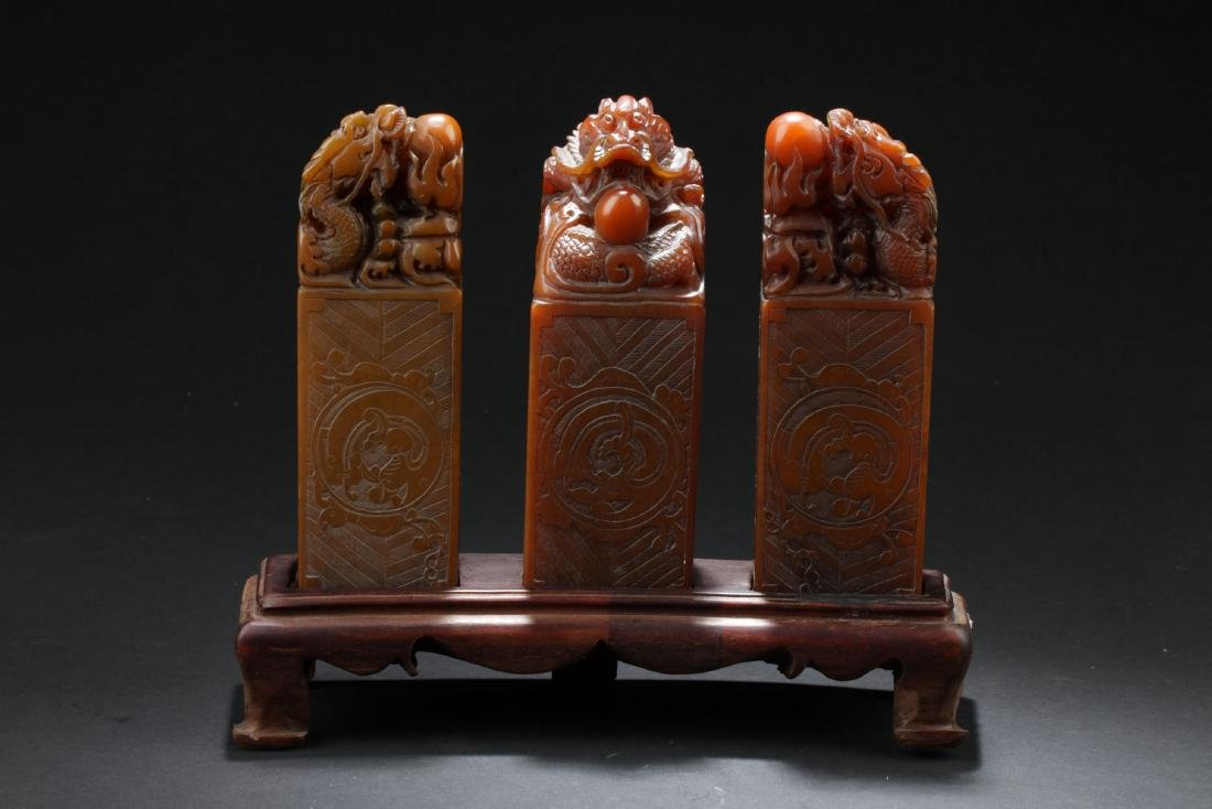 Three Chinese Estate Dragon-decorating Soapstone Seals