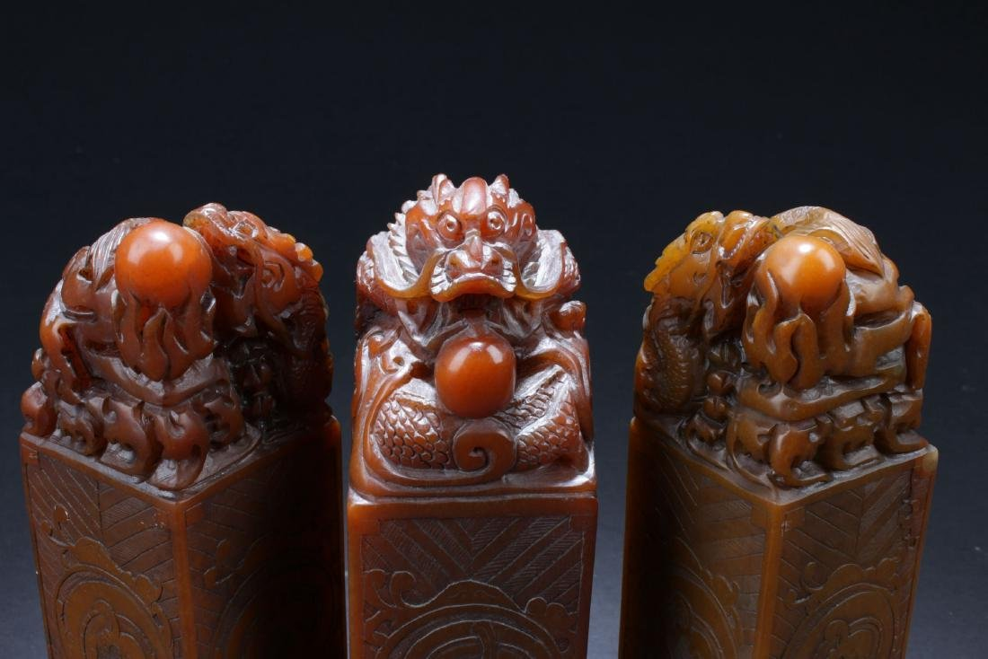 Three Chinese Estate Dragon-decorating Soapstone Seals - 2