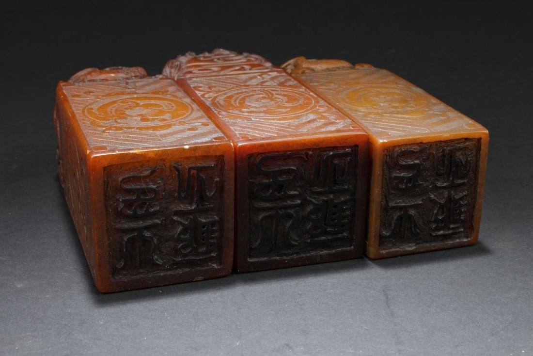 Three Chinese Estate Dragon-decorating Soapstone Seals - 4
