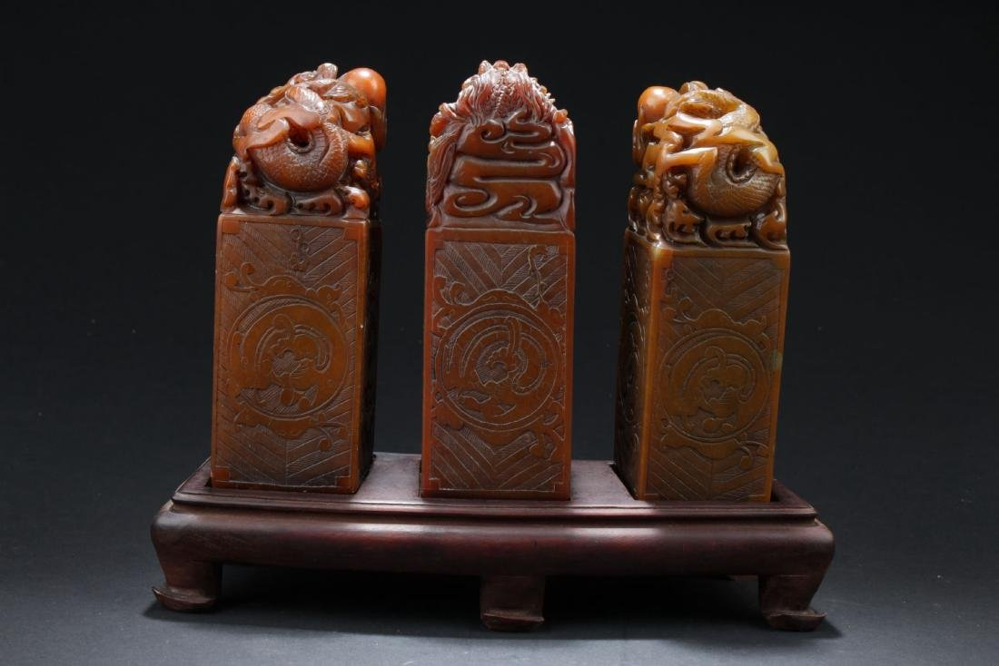 Three Chinese Estate Dragon-decorating Soapstone Seals - 5