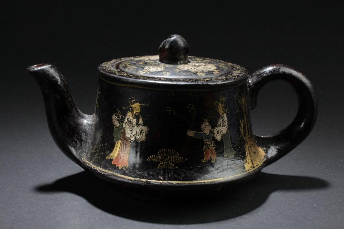 A Story-telling Bent-surface Chinese Tea Pot
