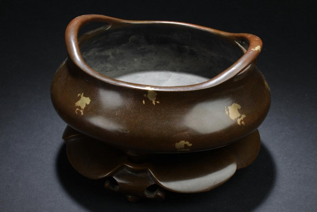 Chinese Bronze with Gold Splash Censer