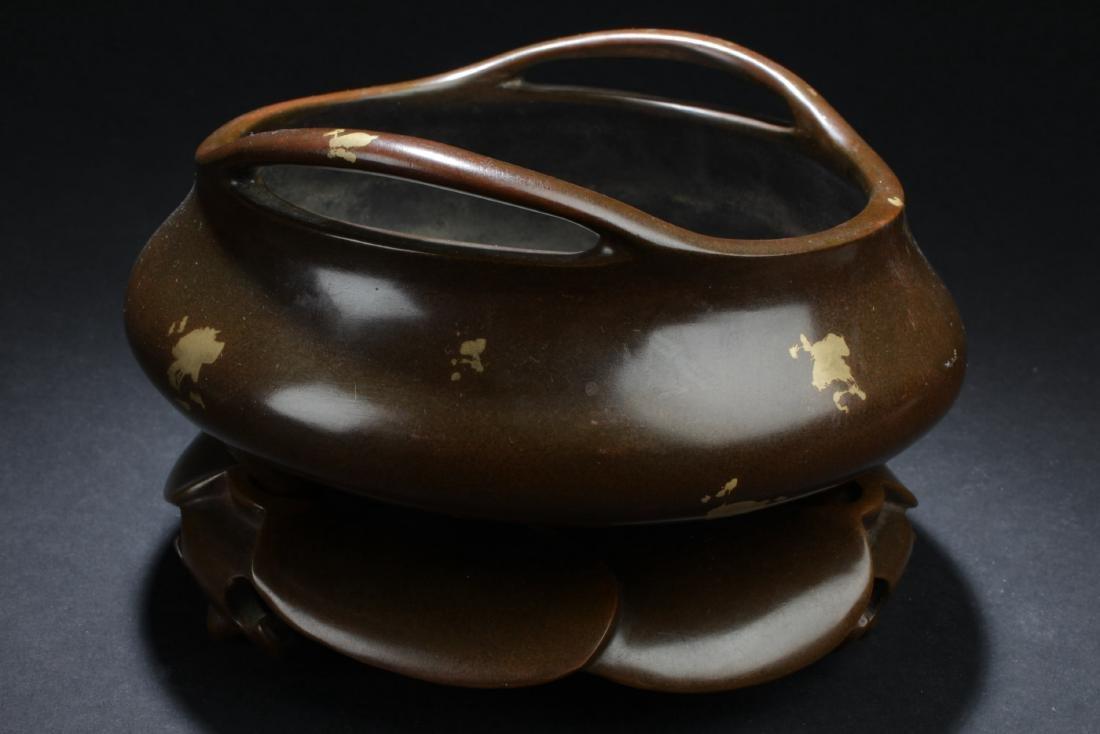 Chinese Bronze with Gold Splash Censer - 2