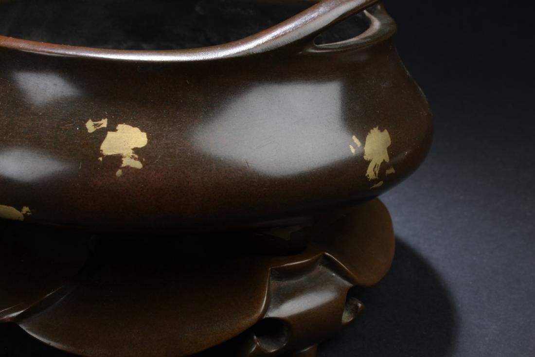 Chinese Bronze with Gold Splash Censer - 3