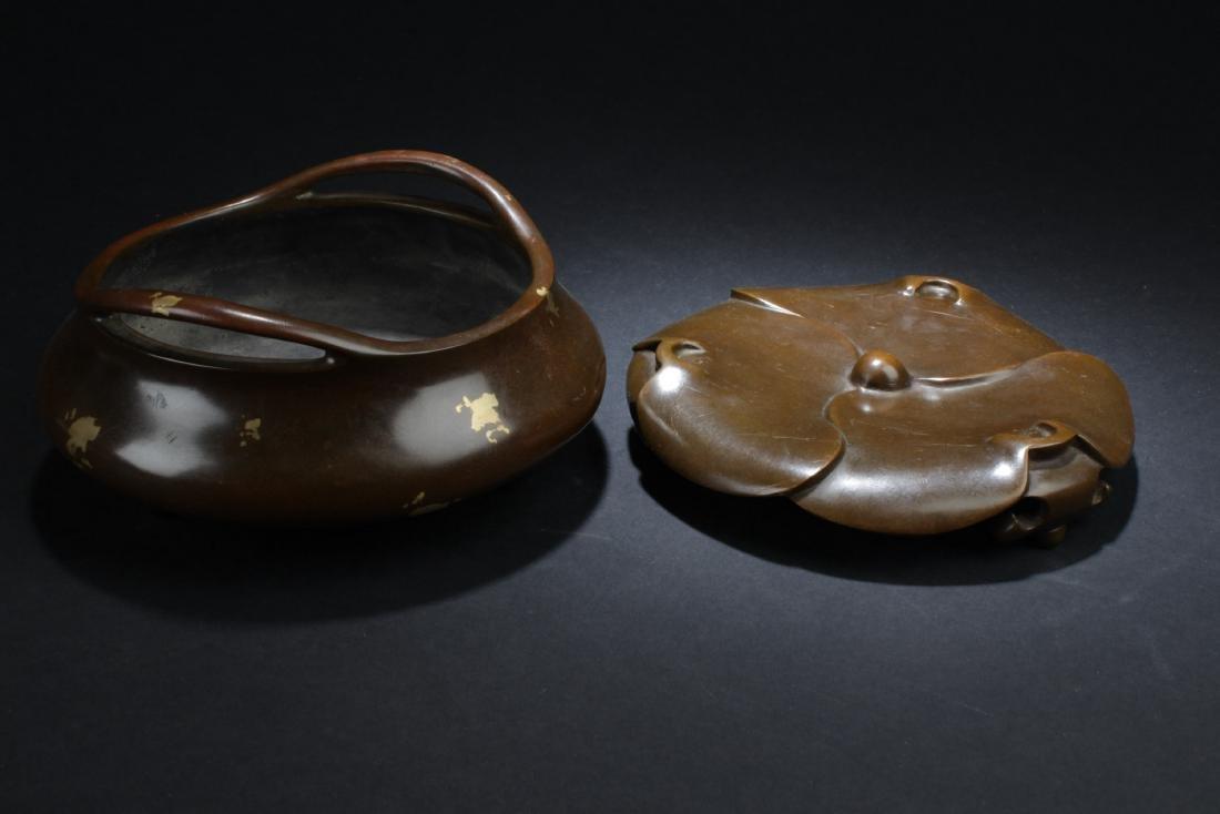 Chinese Bronze with Gold Splash Censer - 4