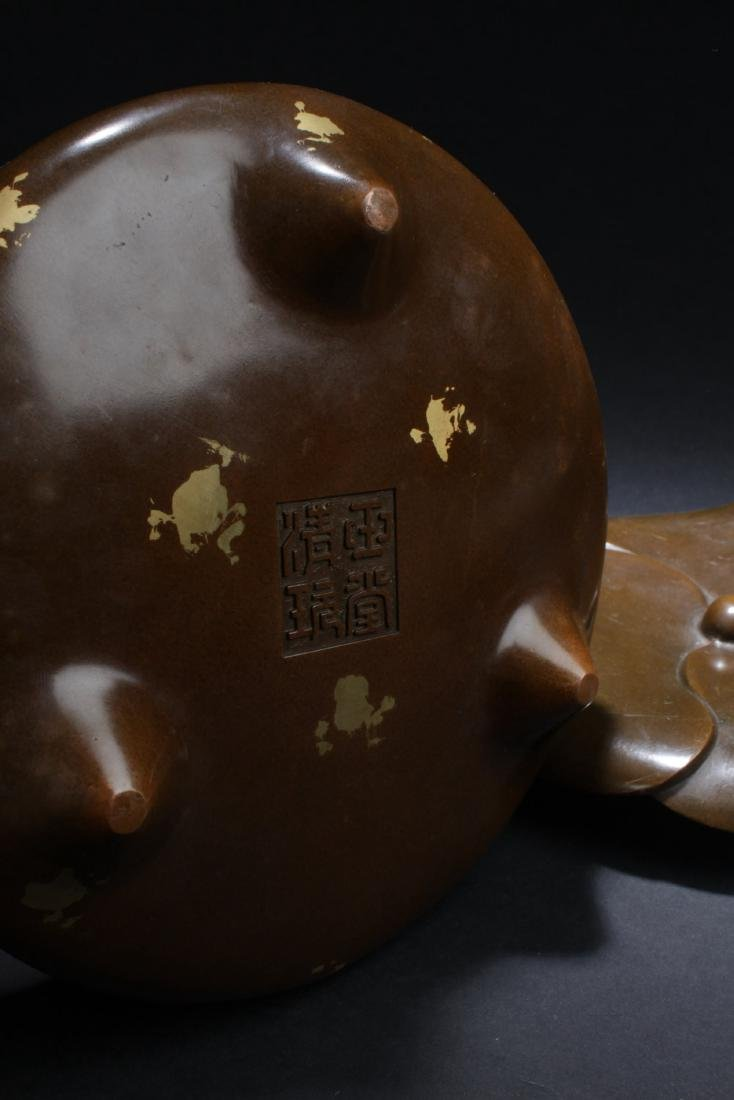 Chinese Bronze with Gold Splash Censer - 5