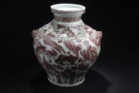 A Duo-handled Chinese Aqua-fortune Red Porcelain Vase