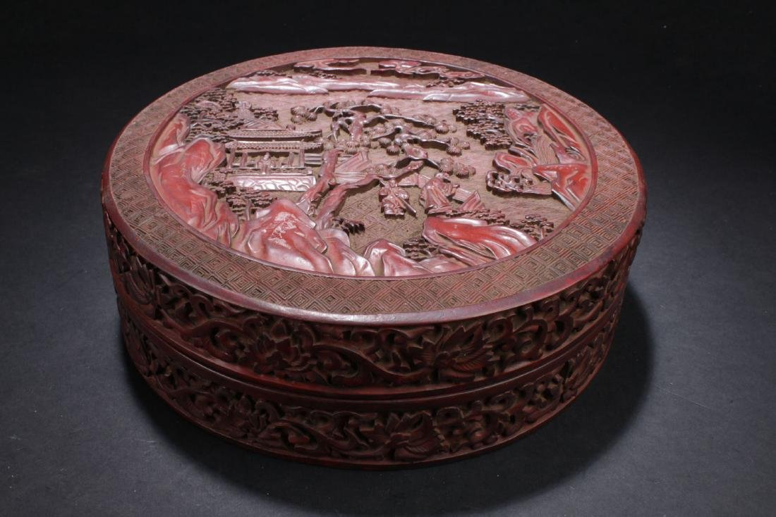 A Story-telling Chinese Estate Temple-sceen Lacquer Box
