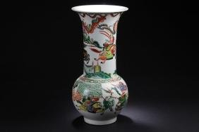 A Narrow-opening Chinese Battle-field Porcelain Vase