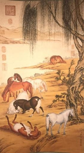 A Chinese Horse-portrait Painting Scroll