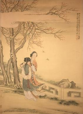 A Chinese Ladies-portrait Painting Scroll