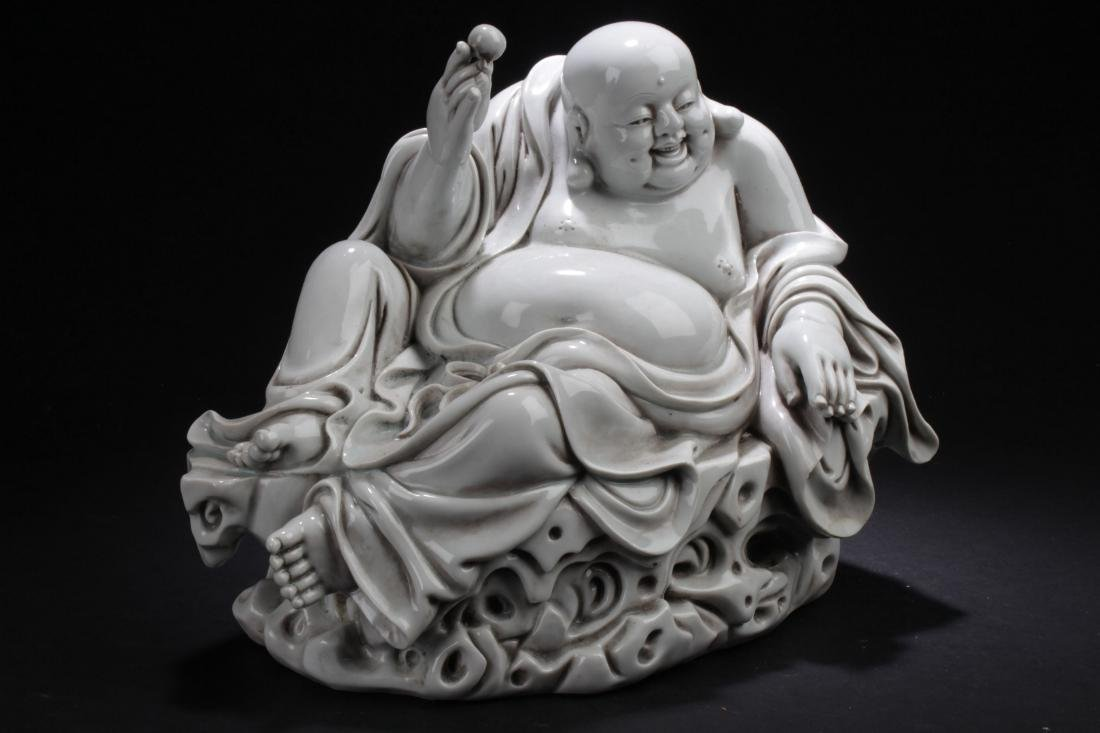 A Joyful-Buddha Chinese Estate White Porcelain Statue