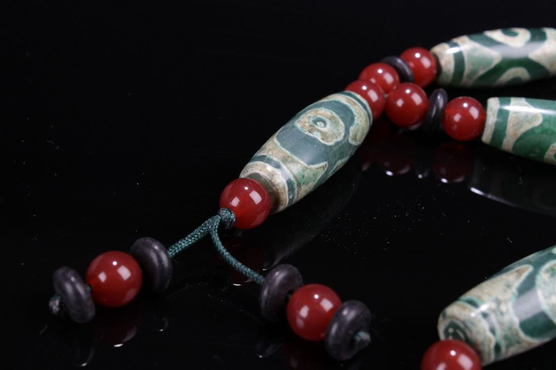 An Estate Tibetan Beaded Necklace Display - 2